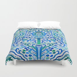 Sapphire and Emerald Watercolor Tulip Damask Duvet Cover