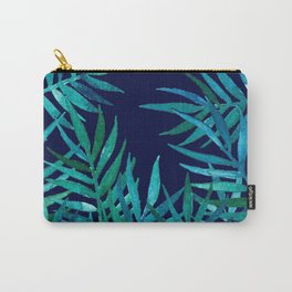Watercolor Palm Leaves on Navy Carry-All Pouch