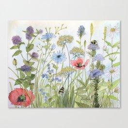 Floral Watercolor Botanical Cottage Garden Flowers Bees Nature Art Canvas Print