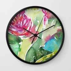 Floral abstraction || watercolor Wall Clock