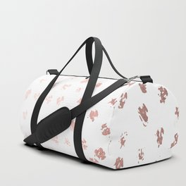 Rose Gold Pink Polka Splotch Dots on White Duffle Bag