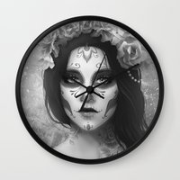 day of the dead Wall Clocks featuring Day of the Dead by Nicolas Jamonneau