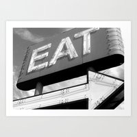 eat Art Prints featuring EAT by Platcat Design