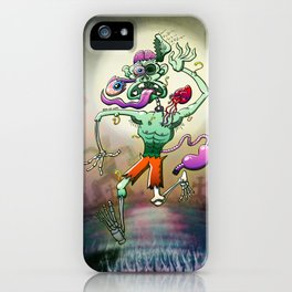 Zombie in Trouble Falling Apart iPhone Case