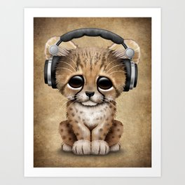 Cute Cheetah Cub Dj Wearing Headphones Art Print