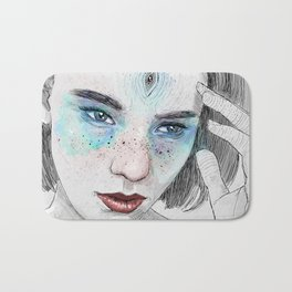 Third eye girl sketch Bath Mat