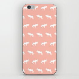 Moose pattern minimal nursery basic peach and white camping cabin chalet decor iPhone Skin