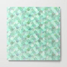 Pretty Mint Green Mermaid Scallops Pattern Metal Print