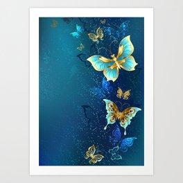 Golden Butterflies on a Blue Background Art Print