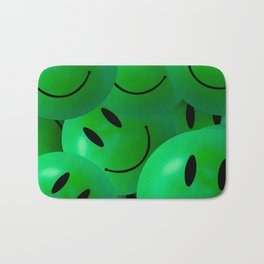 Fun Cool Happy green Smiley Faces Bath Mat