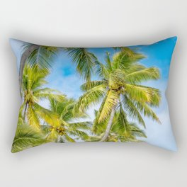 Coconut Palm Trees against the blue sky at Isle of Pines in New Caledonia. Rectangular Pillow