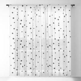 Dalmatian Polka Dots - White Black Sheer Curtain