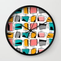 mid century modern Wall Clocks featuring Mid-Century Modern Abstract #11 by Kippygirl