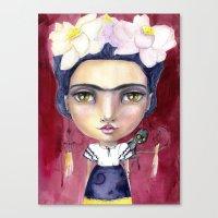 jane davenport Canvas Prints featuring Little Frida by Jane Davenport by Jane Davenport