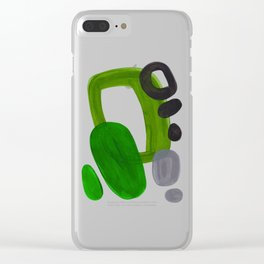 Mid Century Vintage 70's Design Abstract Minimalist Colorful Pop Art Olive Green Dark Green Grey Clear iPhone Case