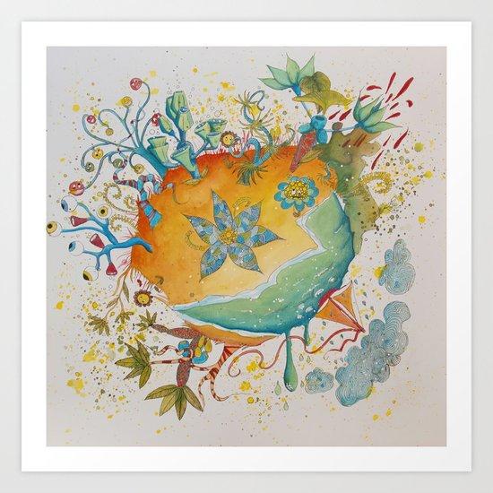 the beach  planet Art Print