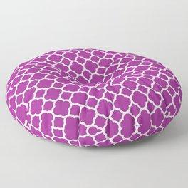 Moroccan geometrical magenta white quatrefoil pattern Floor Pillow