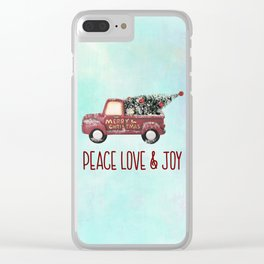 Vintage Toy Truck Peace Love & Joy Clear iPhone Case