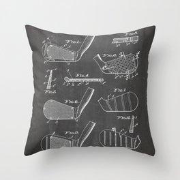 Golf Clubs Patent - Golfing Art - Black Chalkboard Throw Pillow
