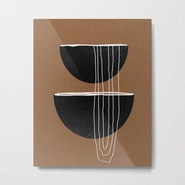Scandinavian Geometric Line Art Terracotta Metal Print