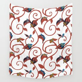 White Bug Swirl Wall Tapestry