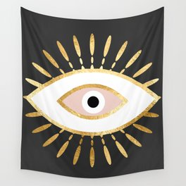 gold foil evil eye in blush Wall Tapestry