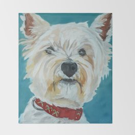 Jesse the Beautiful West Highland White Terrier Dog Portrait Throw Blanket