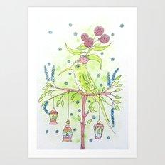 Flowerpot bird Art Print