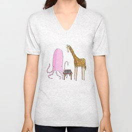 Octopus and Giraffe Unisex V-Neck
