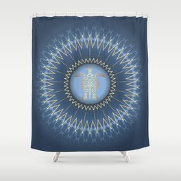 Dark Blue Gold Turtle And Mandala Shower Curtain