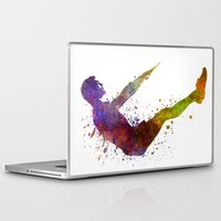 workout Laptop & iPad Skins featuring Man exercising workout fitness  by Paulrommer