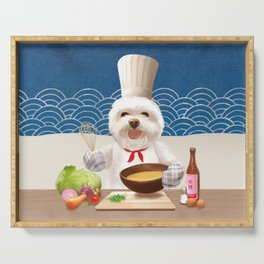 Dog In Chef Hat Cooks Soup Serving Tray
