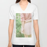 peach V-neck T-shirts featuring Peach by Mariam Sitchinava