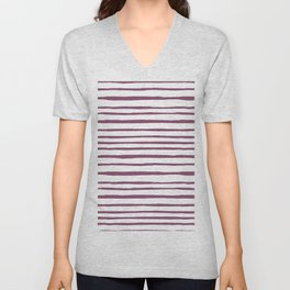 Magenta pink watercolor hand painted stripes Unisex V-Neck