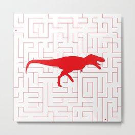 Red T-Rex Maze Metal Print