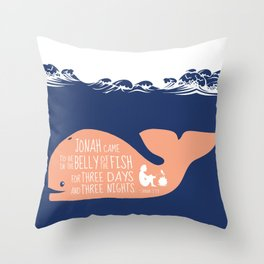 Jonah (Bible Character) Belly of the Fish Quote Throw Pillow