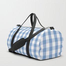 Classic Pale Blue Pastel Gingham Check Duffle Bag