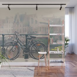 a bicycle date in Ghent Wall Mural