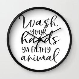BATHROOM WALL DECOR, Wash Your Hands Ya Filthy Animal,Funny Print,Bathroom Sign,Shower Decor Wall Clock