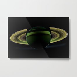 Dark Side of Saturn Space Mission Fly-by Telescopic Photograph Metal Print