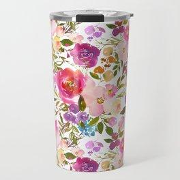 Modern pink teal green hand painted leaves floral Travel Mug