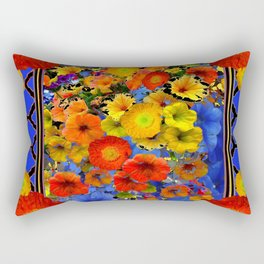 BLUE ABSTRACT OF POPPIES & YELLOW PETUNIA FLOWERS Rectangular Pillow