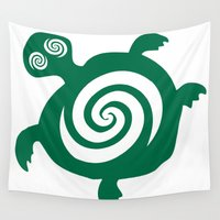 tortoise Wall Tapestries featuring Adayan Dizzy Tortoise by Adayan