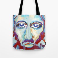 jesus Tote Bags featuring Jesus  by melissa lyons