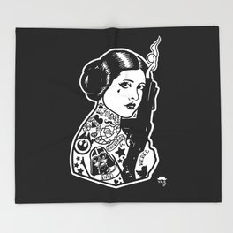 Carrie Fisher Tattooed star princess... Throw Blanket