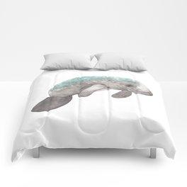 Watercolor Manatee with Algae Comforters