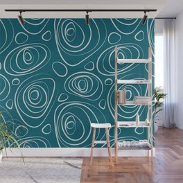 Pale Blue Wacky Retro Circle Pattern on Tropical Dark Teal Inspired by Sherwin Williams 2020 Trending Color Oceanside SW6496 Wall Mural