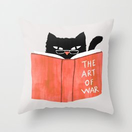 Cat reading book Throw Pillow
