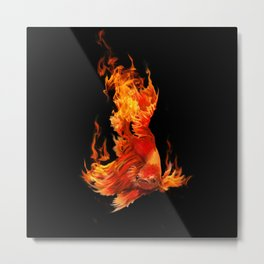Figtin Fish on Fire Metal Print