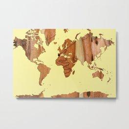 Wood bark - Yellow - Organic World Map Series Metal Print